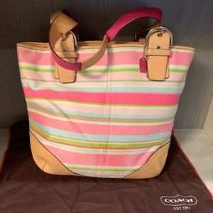 Coach hampton pink multicolor stripe Lg tote 5175